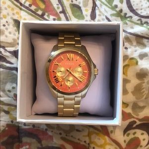Women's Fossil Watch - Gold w/ Coral Face